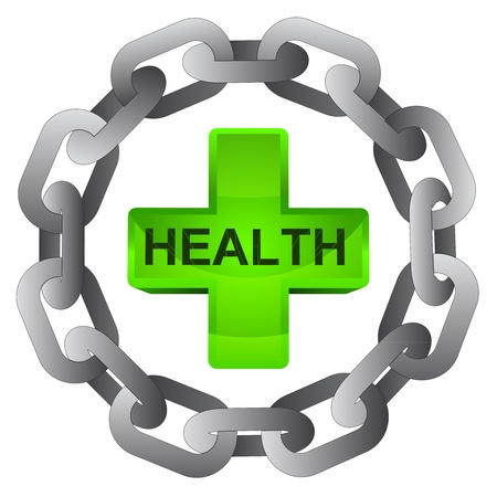 health cross in strong steel circle chain vector illustration illustration