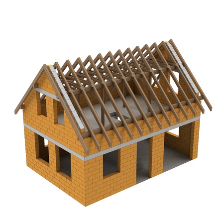 timbered: new timbered construction structural house scheme illustration Stock Photo
