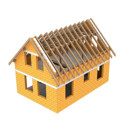 rafter: timbered construction structural house detail illustration Stock Photo