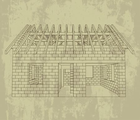front house line construction grunge drawing vector illustration  illustration