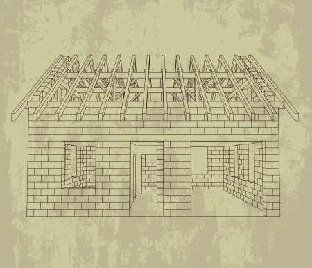 rafter: front house line construction grunge drawing vector illustration