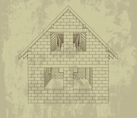 gable house construction line grunge drawing vector illustration  Stock Illustration - 21228793