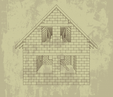 rafter: gable house construction line grunge drawing vector illustration