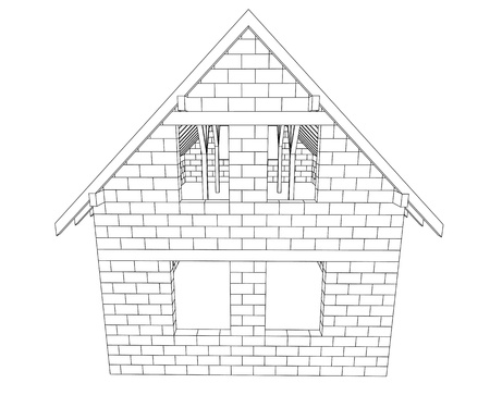 rafter: bricked house construction line drawing vector illustration  Stock Photo