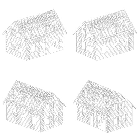 rafter: four isometric line drawing schema views illustration