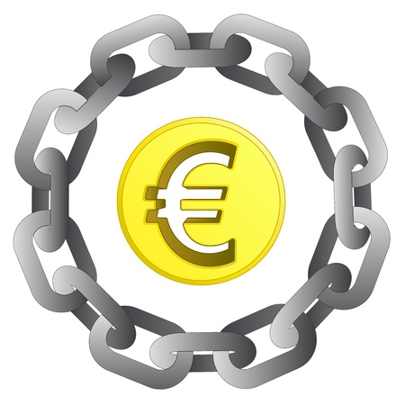 euro coin in strong steel circle chain vector illustration illustration