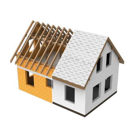 rafter: house structural two section transition illustration Stock Photo