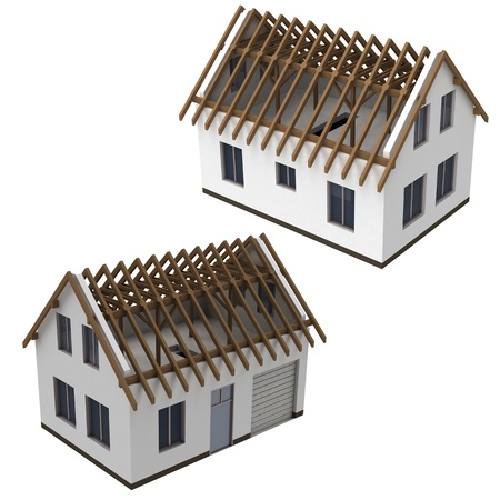 rafter: isolated two roof construction schema views pack illustration