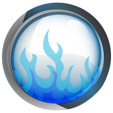 isolated blue circle button with flame vector illustration illustration