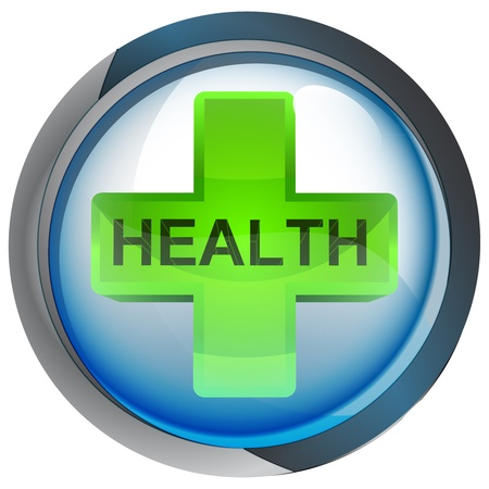 retail therapy: isolated blue circle button with health cross vector illustration