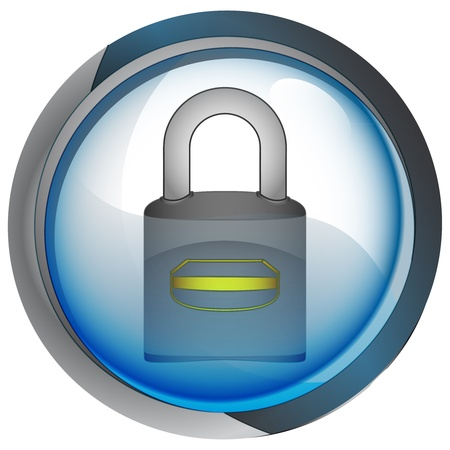 isolated blue circle button with padlock vector illustration Stock Illustration - 21228510