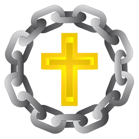 godness: religious cross in strong steel circle chain vector illustration