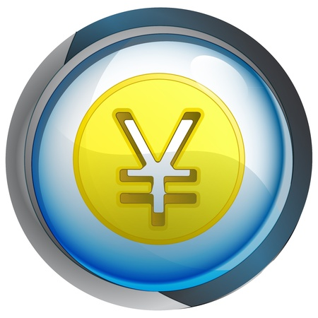 yuan: isolated blue button with yuan or yen coin vector illustration