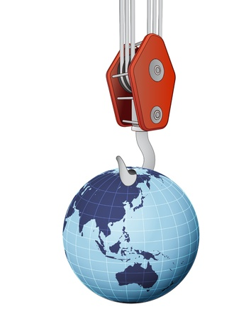 lifting globe: crane hook lifting earth globe with asia vector illustration Stock Photo