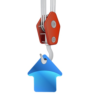outdoor advertising construction: crane hook lifting blue house icon vector illustration