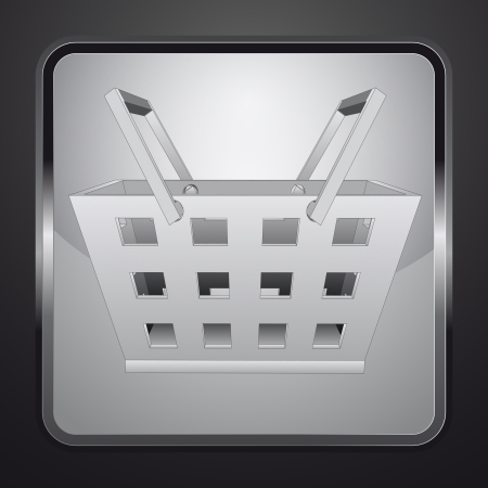 shopping basket on square button vector illustration illustration