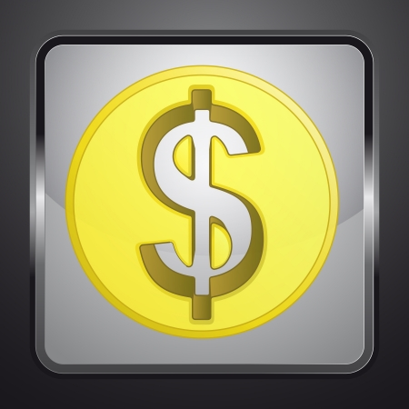 golden american dollar coin square button vector illustration Stock Illustration - 21228643