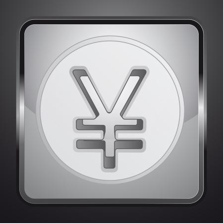 silver yuan or yen coin square button vector illustration illustration