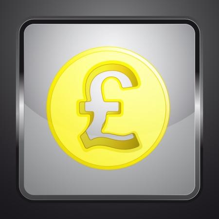 golden british pound coin square button vector illustration illustration