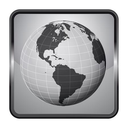 america earth globe silver square button vector illustration Stock Illustration - 21228620