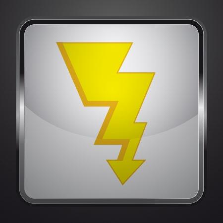 gold thunderbolt silver square button vector illustration Stock Illustration - 21230558