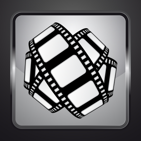 movie tape on silver square button vector illustration Stock Illustration - 21228455