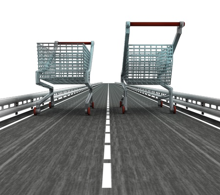 profusion: isolated motorway with two shopping carts illustration Stock Photo
