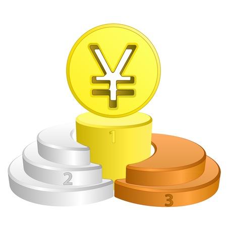 yuan: best podium place for yuan or yen vector illustration