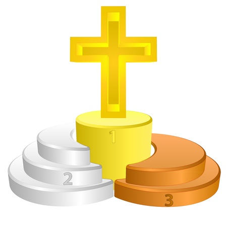 godness: best podium place for christianity vector illustration