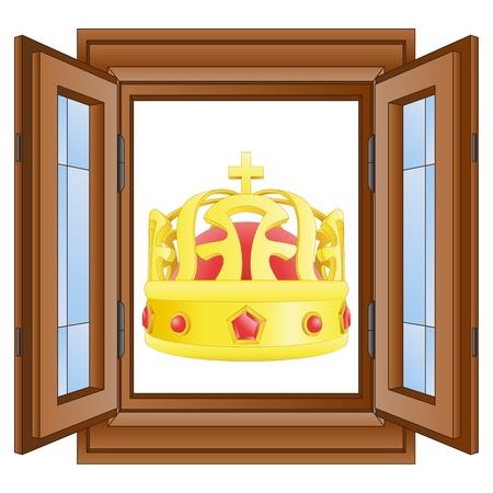 kings royal crown in window wooded frame vector illustration illustration