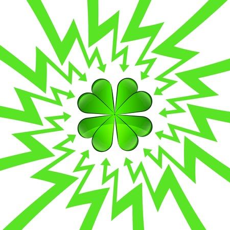 green happy cloverleaf in arrow zigzag circle vector illustration