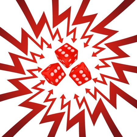 three red dice  in arrow zigzag circle vector illustration Vector