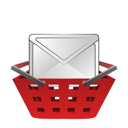 posted: posted envelope in red basket vector illustration