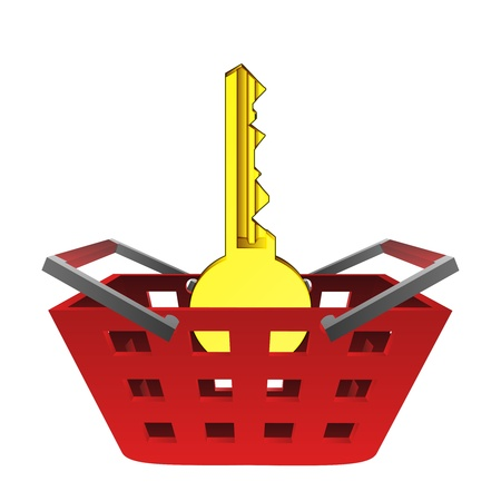 golden key in red basket vector illustration Vector
