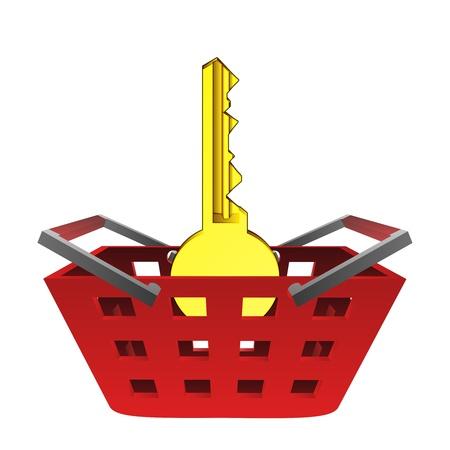 golden key: golden key in red basket vector illustration