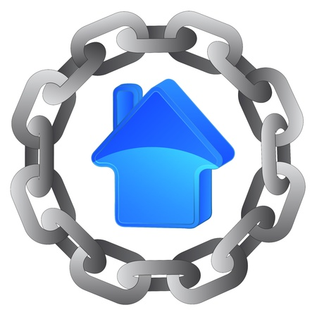 blue house in strong steel circle chain vector illustration Vector
