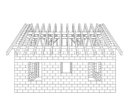 rafter: house construction line drawing vector illustration