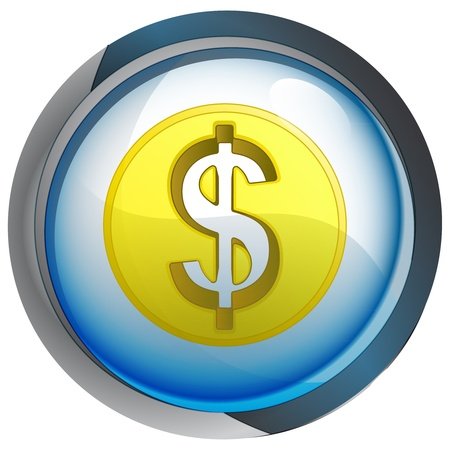isolated blue circle button with dollar coin vector illustration Stock Vector - 21228177