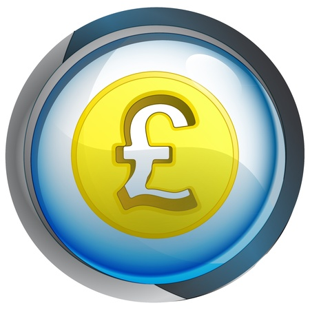isolated blue circle button with pound coin vector illustration Stock Vector - 21228260