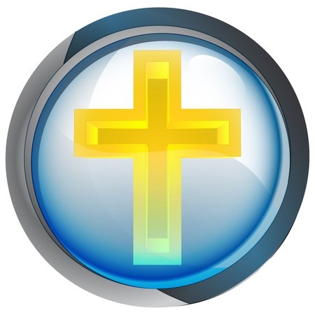 godness: isolated blue circle button with religious cross vector illustration Illustration