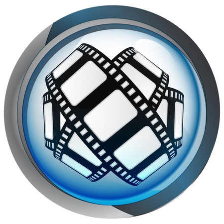 isolated blue circle button with movie tape vector illustration