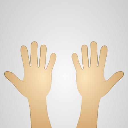 bekijken op twee open handpalmen vectorillustratie