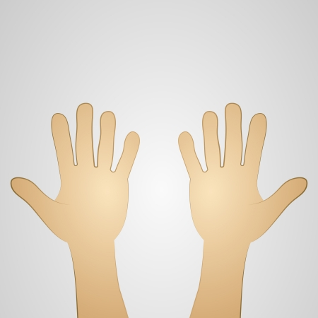 hand illustration: view on two open palms vector illustration