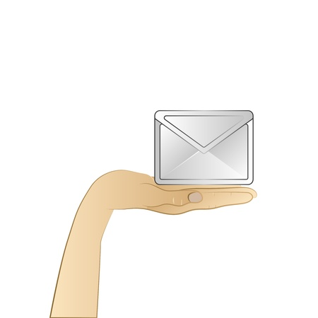posted: human palm holding posted letter vector illustration
