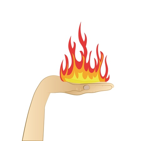 open fire with flames on human palm vector illustration Stock Vector - 21228315