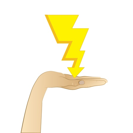 lightning strikes to open palm vector illustration Vector