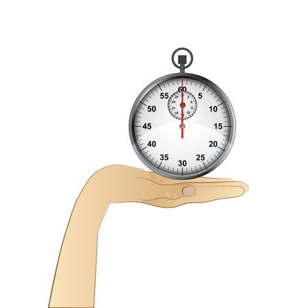 hand palm holding shiny stopwatch vector illustration Vector