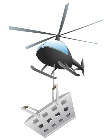 isolated shopping basket helicopter transport vector illustration Vector