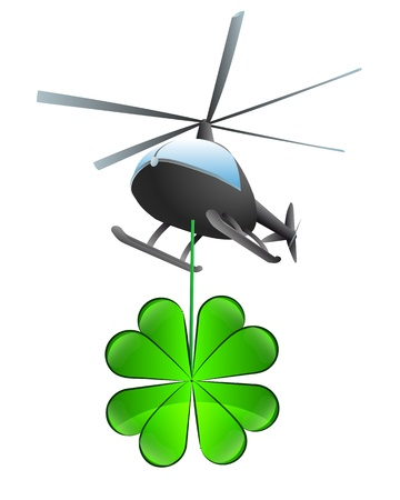 felicity: isolated cloverleaf happiness helicopter transport vector illustration