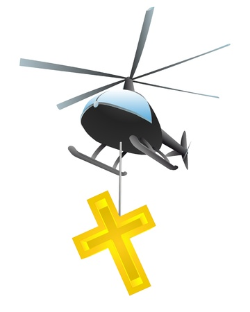 godness: isolated religious cross helicopter transport vector illustration